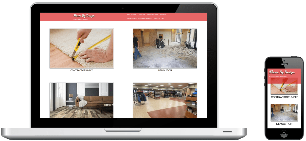 Roseburg Flooring's website on a laptop and phone, designed by Rogue Marketing Pros