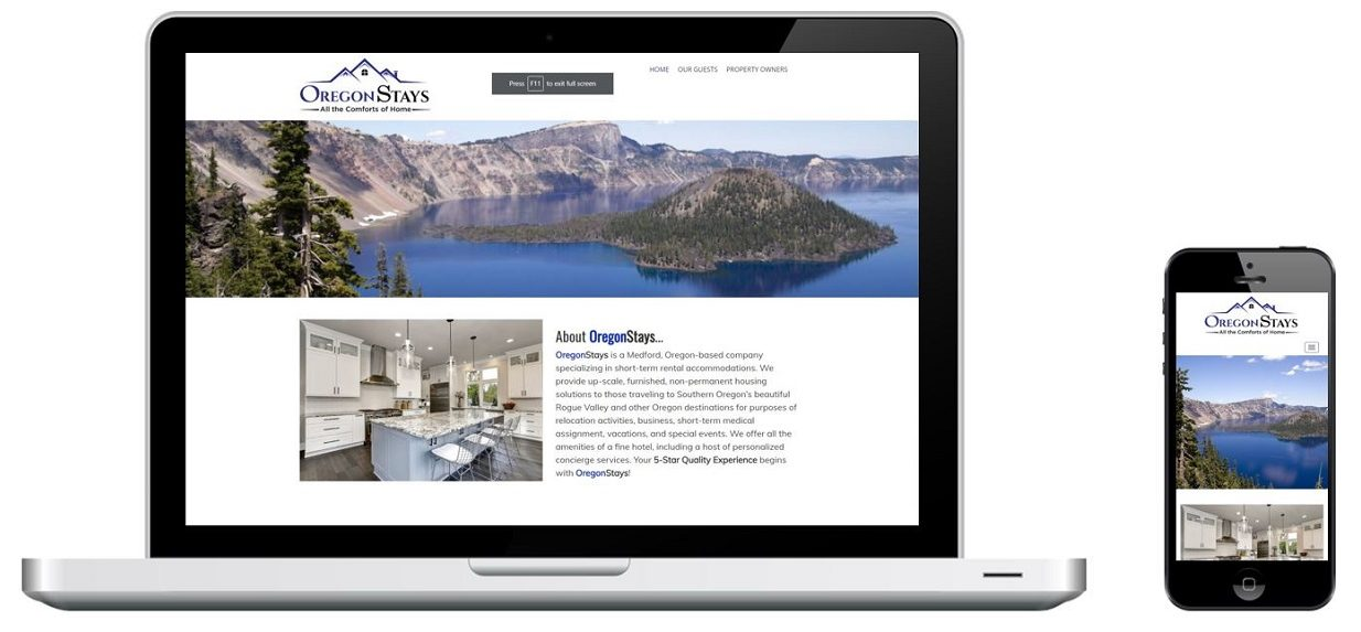 Oregon Stays website on a laptop and phone, designed by Rogue Marketing Pros