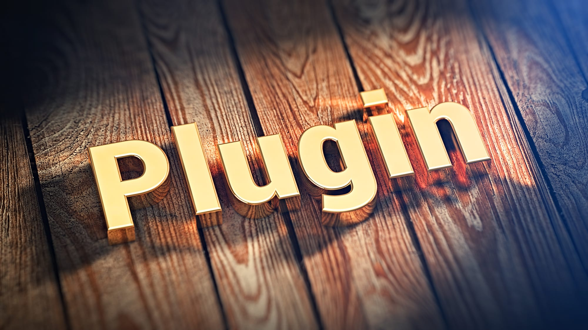 "Image of the word ""Plugin"" on top of wood planks."
